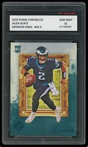 JALEN HURTS 2020 PANINI GRIDIRON KINGS 1ST GRADED 10 ROOKIE CARD RC EAGLES