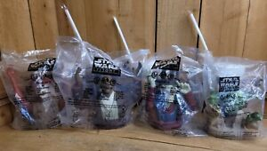 Complete Set of 4 Star Wars Episode I Cups Toppers & 3 Straws Pizza Hut 1999