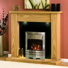 Electric Oak Wood Surround Silver Black Fire Wall Fireplace Suite Big Lights 54""