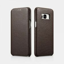 Samsung Galaxy S8 Leather Case Real Woven Pattern Cafe