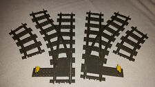 LEGO TRAIN 4531 - 2861 - 2859 - 9V SWITCH POINTS LEFT & RIGHT + 2 CURVED TRACKS