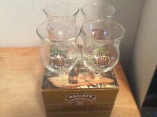 Vintage Baileys On The Rocks Gold Lettering Stemware Bar Glasses Set Of 4