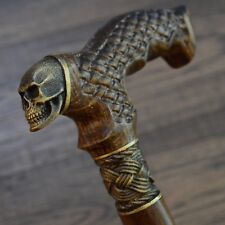 Skull Cane Walking Cane Stick Bronze Skull Wood Wooden HANDMADE Canes Exclusive