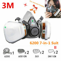 7 in 1 Suit 3M 6200 Half Face Gas Mask Respirator Painting Spray Dust Masks KI