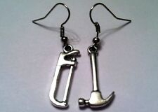 SAW If I Had a HAMMER 3D 2-sided Earrings, tools handy fixer carpenter kitsch