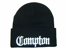 "Black & White Compton Los Angeles City Eazy E 12"" Long Cuffed Knit Beanie Cap"