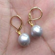11-12mm Gray Pearl Earrings 18k Hook Irregular Contracted Classic