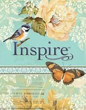 NLT Inspire Bible : The Bible for Creative Journaling (Silky Vintage Blue/Cream)