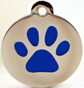 Pet Tags ~ Large & Small Silver Paw Print Engraved Pet Tags