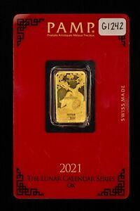 2021 PAMP Suisse 5 gram 999.9 Gold Bar - Lunar Calendar Series Year Ox - G1242