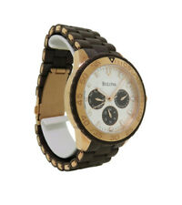 Bulova 98N103 Women's Round Day/Date Analog Brown Resin Stainless Steel Watch