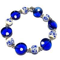 Blue Stretch Bracelet Beaded Bangle Glass Bead Tibetan Silver Style