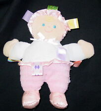 """Taggies Pink Doll Satin Feet 9"""" Plush Lovey Toy Baby Girl Infant Super Clean"""