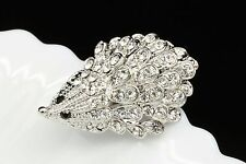 2 pc clear white crystal rhinestone baby hedgehog silver plated brooch pin D03