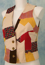 MOD 70s VtG PSYCHEDELiC COLOR BLOCK POLY PATCH WORK HiPPiE FESTiVAL VEST TOP M
