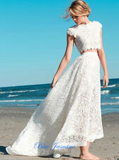 Two Pieces Cap Sleeves Lace Hi-Low Beach Wedding Dress Bridal Gowns Size 6 8 10+
