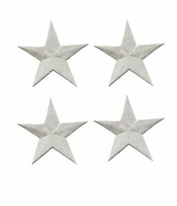 """Lot 4Pcs 2 3/8"""" White Star Embroidery Iron On Applique Patch"""