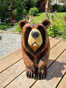 Chainsaw Carved Grizzly bear, Garden Sculpture