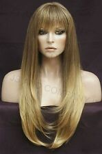 Human Hair Blend Wig Long Straight Blonde Brown Mix Heat safe WTO T85
