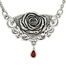 Sterling Silver Rose Necklace Jewelry Flower of Love Red Garnet 18 inch chain