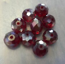 Vintage NOS Large Deep Red Copper Rainbow Luster Faceted Rondell Glass Bead Lot