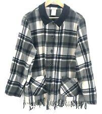 Coldwater Creek Jacket Size XL Velvet Collar Flannel Plaid Equestrian Fringe