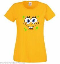 Ladies spongebob lady fit t-shirt sponge bob square pants yellow top fun XL