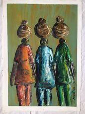 African a Olio/Acrilico ORIGINALE elencati artista firmato ARTE FOLK Tribale Donna