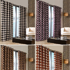 EYELET Ring Top Pair Retro Geometric Heavy Lined Chenille Curtains