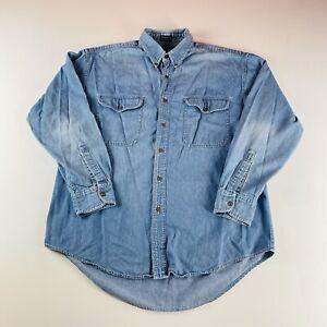 Chaps Ralph Lauren Vintage Denim Button Down Shirt L/S Blue Mens Size Large