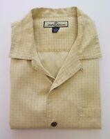 Tommy Bahama Men's Short Sleeve Silk Beige Checks Geometric Casual Shirt Medium