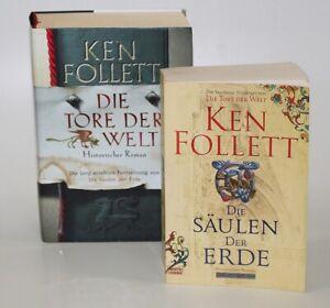 2x Ken Follett Jahrhundersaga: Die Säulen der Erde + Die Tore der Welt TB + HC