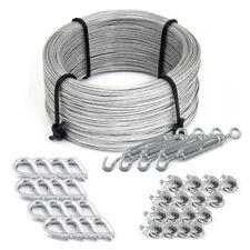 Drahtseil PVC SET Ummantelt + Zubehör Stahlseil Kausche Klemmen Seil Verzinkt