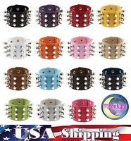New Metal Cone Stud Rivet Spike Punk Leather Bangle  Cuff Bracelet Wristband