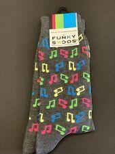 Funky Socks Men's Dress Casual Novelty Crew Socks Music Notes Pink Yellow Gray