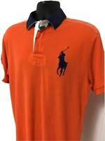 Polo Ralph Lauren Men's Rugby Shirt Sz L Orange Blue Short Sleeve