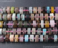 "Natural Mixed Gemstone Heishi Spacer Beads 8mm 10mm 12mm 16"" Amethyst Turquoise"