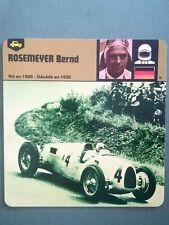 Fiche Pilote Auto Card 12 x 12,5 cm - Bernd Rosemeyer - Allemagne