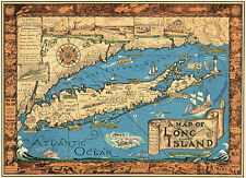 Early Pictorial Map of Long Island Historic Wall Print Poster Vintage History