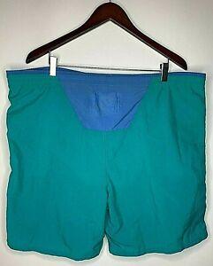 Vintage 90s Hobie Mens Size L Cyan Blue Spellout Drawstring Swim Trunks Shorts