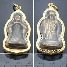 Gold Phra LP Koon Sit Wat Banrai Billionaire Talisman Necklace Statue Amulet