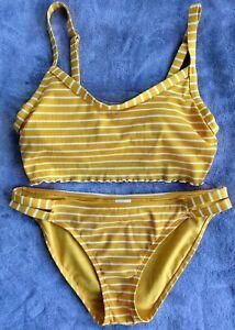 Mustard-Yellow & White Striped Bikini Swimsuit. Xhilaration Size L. Excellent!