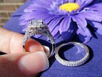 Certified Engagement Wedding Ring Set 2.2 Ct VVS1 Cushion Diamond 14k White Gold