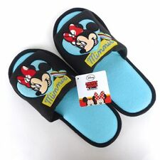 SOFT PLUSH SLIPPERS SHOES ADULT BLUE MICKEY MOUSE MINNIE CUTE DISNEY US 5-9