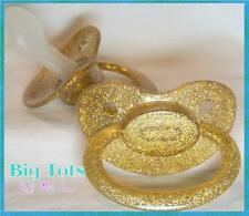 Adult Baby * Bling Baby Paci large pacifier GOLD Big Tots abel
