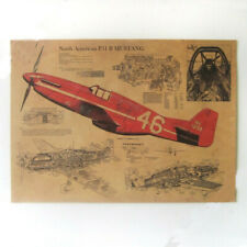 American Fighter P51 Mustang Structure Drawing Vintage Poster Art Wall Decor