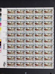 1974 sheet, Currier & Ives Christmas Sleigh ride Sc #1551