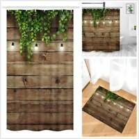 Vintage Wooden Board Wall RV Shower Curtain For Camper Trailer Camping Bathroom