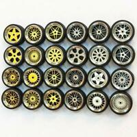 HOT 1/64 Scale Alloy Wheels Custom Hot Wheels, Matchbox,Tomy, Rubber Tires K2J3