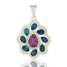 Blue Topaz Amethyst Peridot 925 Sterling Silver Pendant Jewelry